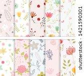 vector paper set of flower and...   Shutterstock .eps vector #1421590301