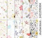 vector paper set of flower and...   Shutterstock .eps vector #1421590304