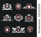 heraldic signs, heraldic elements, insignia, signs, vector set