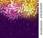 shiny fireworks on starry sky... | Shutterstock .eps vector #1421615204