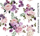 seamless floral pattern with... | Shutterstock . vector #1421617874