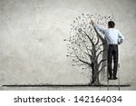 back view image of businessman... | Shutterstock . vector #142164034