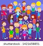cartoon illustration of happy... | Shutterstock .eps vector #1421658851