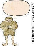 Stock vector cartoon bigfoot with speech bubble in retro texture style 1421659517