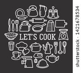 cooking set in circle template...   Shutterstock .eps vector #1421678534