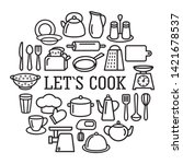 cooking set in circle template... | Shutterstock .eps vector #1421678537