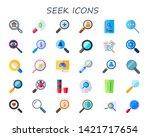seek icon set. 30 flat seek... | Shutterstock .eps vector #1421717654