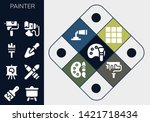 painter icon set. 13 filled... | Shutterstock .eps vector #1421718434