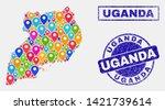 vector bright mosaic uganda map ... | Shutterstock .eps vector #1421739614