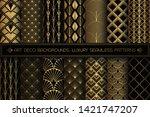 art deco patterns. seamless... | Shutterstock .eps vector #1421747207