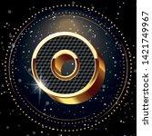 o gold alphabet and lighting... | Shutterstock .eps vector #1421749967