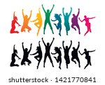 colorful happy group people... | Shutterstock .eps vector #1421770841