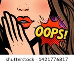 surprised woman. oops  vector... | Shutterstock .eps vector #1421776817