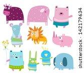 Stock vector vector illustration of cute cartoon animals cow bear bird bunny elephant lion mouse 142179634