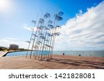 The sculpture Umbrellas by George Zongolopoulos are located at the New Beach in Thessaloniki, Greece