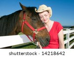smiling woman wearing a cowboy... | Shutterstock . vector #14218642