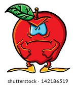 funny cartoon apple on the... | Shutterstock .eps vector #142186519