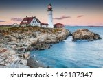 Portland lighthouse in the evening, Maine