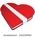 red candy box with white ribbon.... | Shutterstock .eps vector #142193944