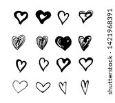 hand drawn sketch style hearts... | Shutterstock .eps vector #1421968391