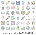 business colorful icon set... | Shutterstock .eps vector #1421968931