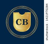 gold shield with letter cb  ... | Shutterstock .eps vector #1421970284