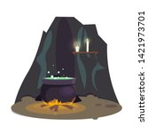 brewing potion in cave flat... | Shutterstock .eps vector #1421973701