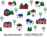 the view of house in the town... | Shutterstock .eps vector #1421983157
