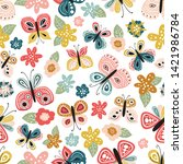 seamless pattern with beautiful ... | Shutterstock .eps vector #1421986784