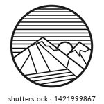 sea and mountain with sun and... | Shutterstock .eps vector #1421999867