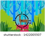 a lone deer being targeted by a ... | Shutterstock .eps vector #1422005507