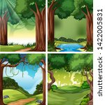 set of tropical rainforest... | Shutterstock .eps vector #1422005831