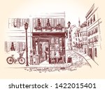 street cafe on the corner of an ... | Shutterstock .eps vector #1422015401