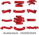 red ribbon set inisolated white ... | Shutterstock .eps vector #1422022634