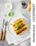 tasty stuffed pancakes crepes...   Shutterstock . vector #1422058607