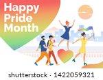 people in happy pride parade.... | Shutterstock .eps vector #1422059321