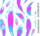 pattern neon feathers and beads.... | Shutterstock .eps vector #1422061874