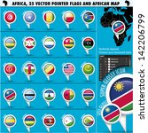 africa pointer flag icons with... | Shutterstock .eps vector #142206799