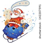 santa riding on sledge with big ... | Shutterstock .eps vector #142207591