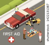 people giving first aid to man...   Shutterstock .eps vector #1422131387