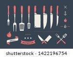 vintage meat set. set of meat... | Shutterstock . vector #1422196754