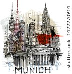 Munich City Sketch Isolated On...