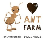 vector cute isolated ant on... | Shutterstock .eps vector #1422275021