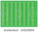 4 4 2 soccer tactical scheme | Shutterstock .eps vector #142233034