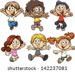 Stock vector excited cartoon kids jumping vector clip art illustration with simple gradients each on a 142237081