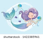Cute Mermaid With Jelly Fishes...