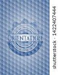 orientation blue emblem or... | Shutterstock .eps vector #1422407444