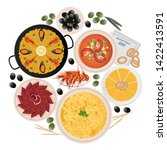 circle of typical tapas and...   Shutterstock . vector #1422413591