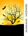 halloween background with... | Shutterstock . vector #142246381