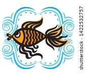 beautiful gold fish. cute... | Shutterstock .eps vector #1422532757